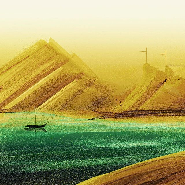 The Golden Sunset #digital #painting #speedpainting #art #color #render #daily #dailies #boats #ocea