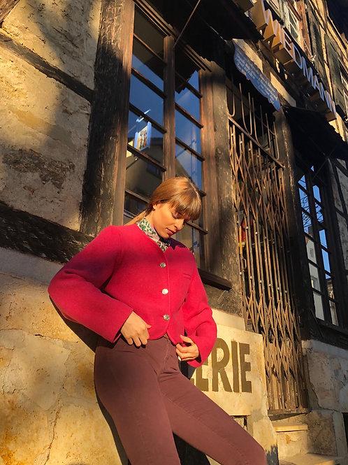 Barbie pink Bavarian style virgin wool jacket