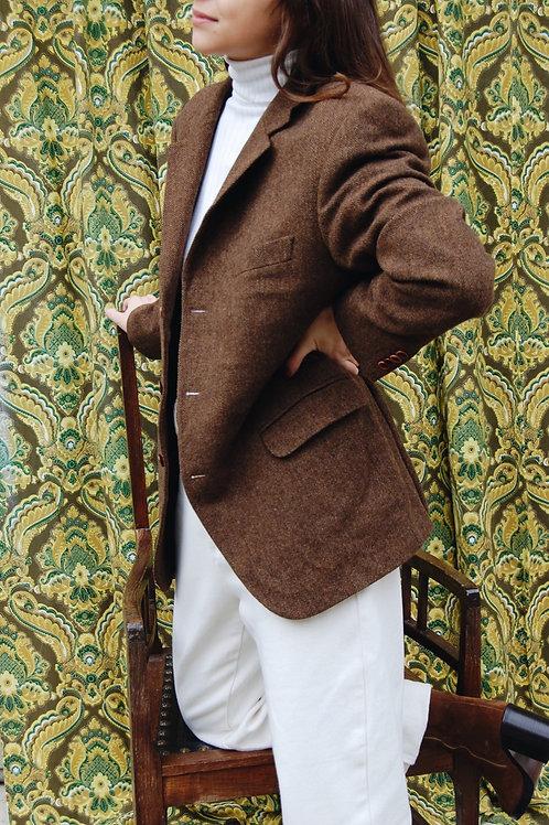 Herringbone tweed man's blazer from pure Scottish wool