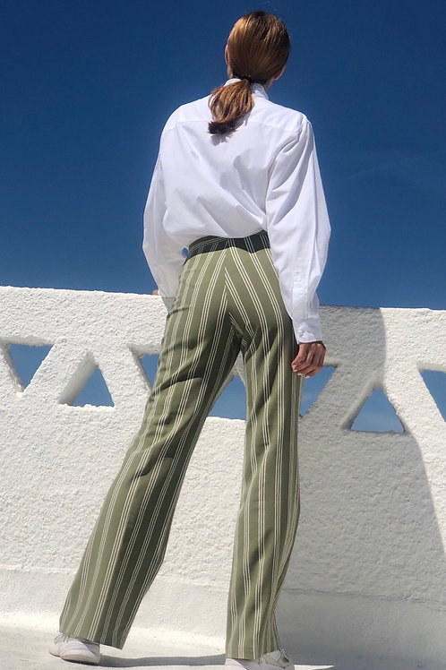 Olive stripped flare pants