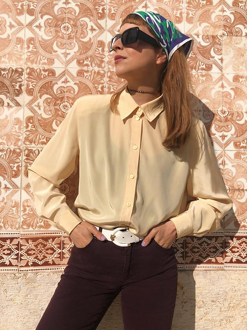 Vintage silky shirt with embroidered collar