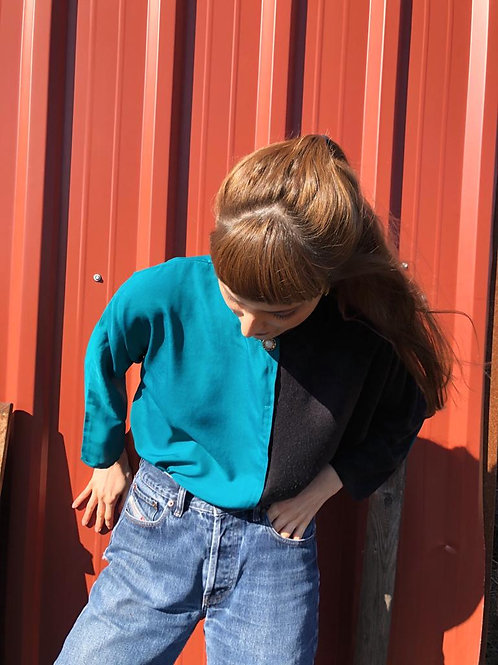 Two-toned vintage home-made blouse
