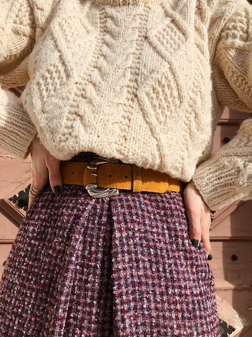 Vintage boucle wool A-line skirt with front box pleat