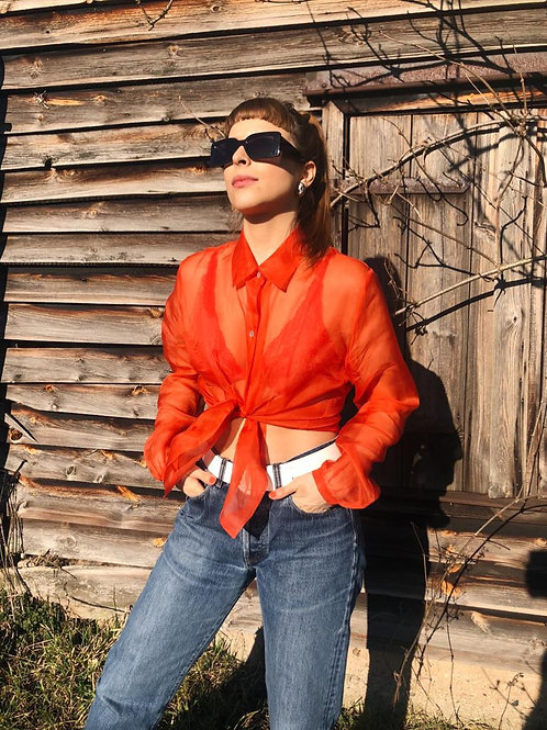 See-through silk tangerine blouse