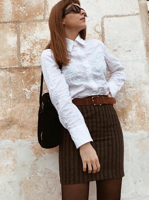 Striped wool pencil skirt