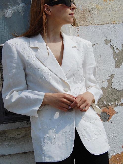 Textured ramie blazer