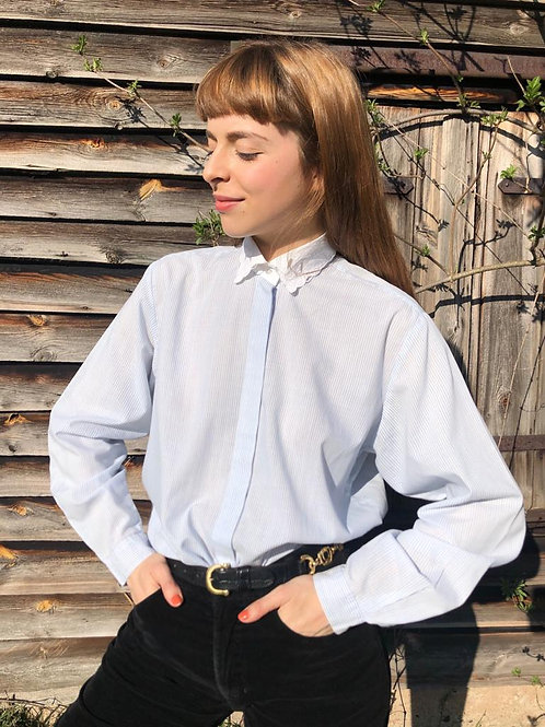Vintage striped shirt with embroidered collar