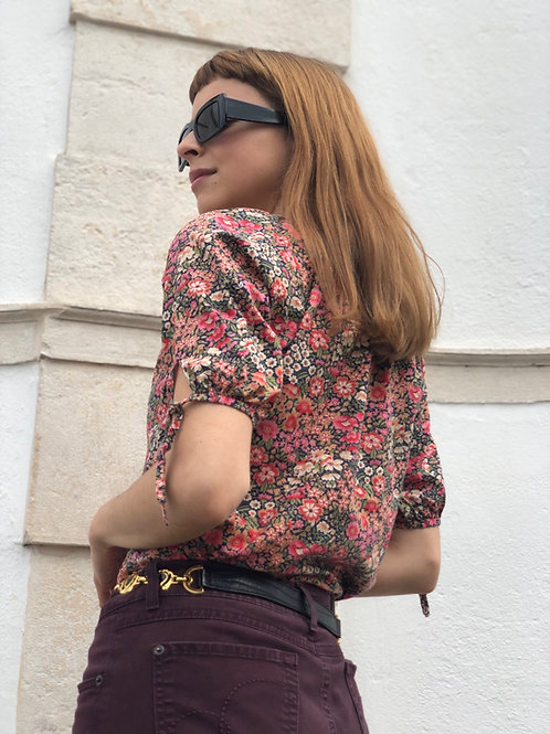 Vintage flower print short sleeve blouse