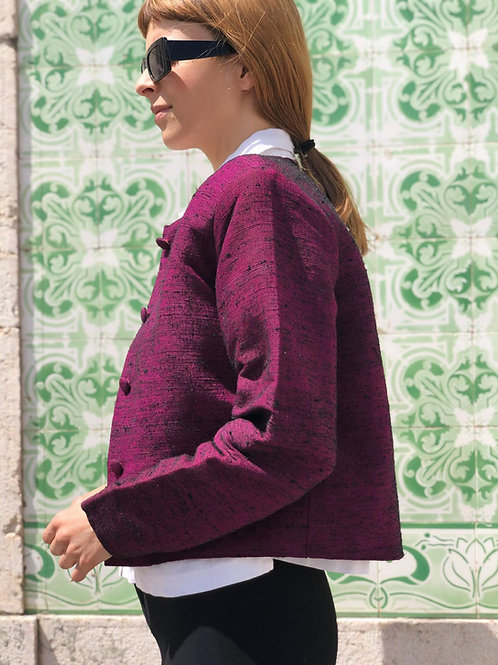Handwoven Thai silk jacket with lined buttons