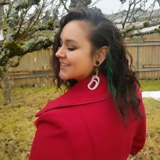 Salmon/arrowhead earrings