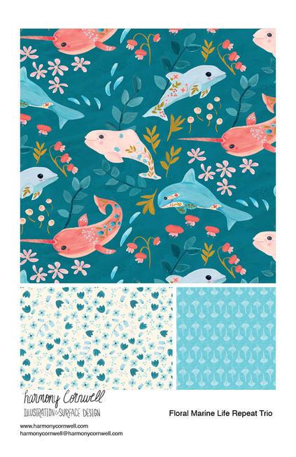 Harmony Cornwell 2021 - Floral Marine Life Repeat Trio.jpg