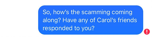 screen shot, asking scammer if any of grandma's friends responded.