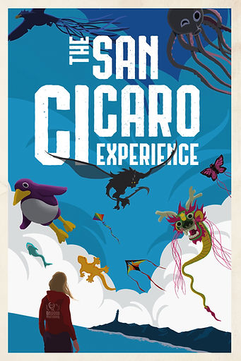The San Cicaro Experience Cover Art, girl on beach watching animal shaped kites in the sky.