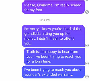 I tell the scammer that I've been trying to reach them about their car's extended warranty.