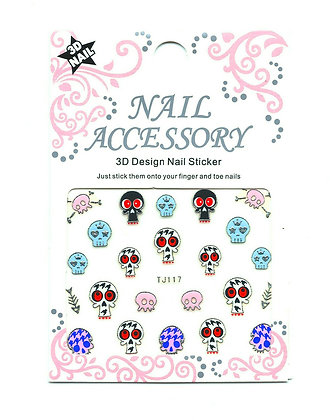 3D Foil Nail Art Stickers - Skulls