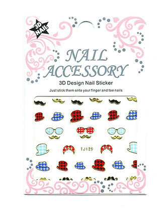 3D Foil Nail Art Stickers - Gold Hats & Tashes