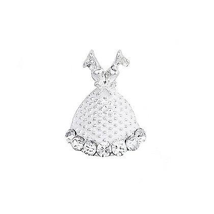 Silver Ball Gown Nail Art Gem