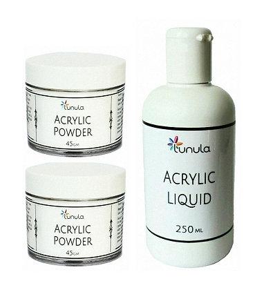 250ml Acrylic Liquid & 2 x 45g Crystal Clear Powder