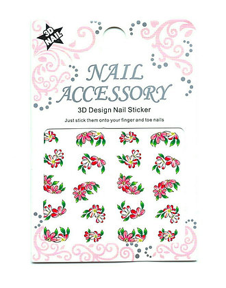 3D Foil Nail Art Stickers - Red Flowers