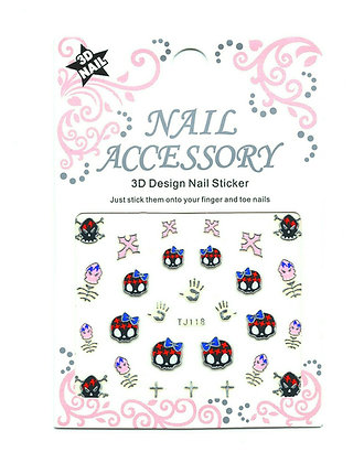 3D Foil Nail Art Stickers - Skulls & Crosses