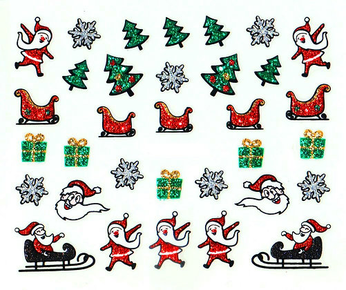Christmas 3D Foil & Glitter Nail Art Stickers.05