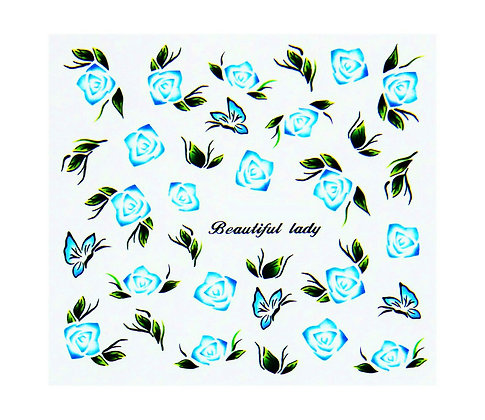 Nail Art Transfers - Blue Flowers