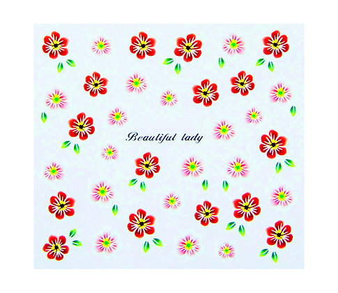 Nail Art Transfers - Red & Pink Floral