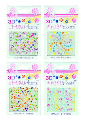 4-Pack of 3D Nail Art Stickers