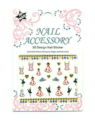 3D Foil Nail Art Stickers - Pink Dresses