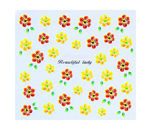 Nail Art Transfers - Red & Yellow Floral
