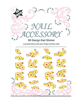 3D Foil Nail Art Stickers - Yellow Flowers