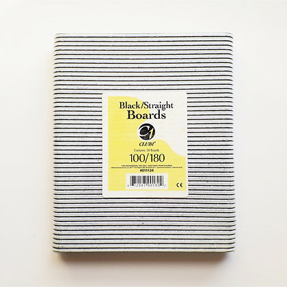 50-Pack Club1 Black Straight Salon Nail Files - 100/180 Grit