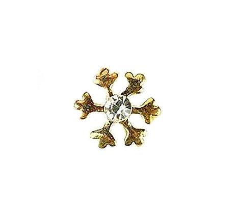 Golden Snowflake Nail Art Gem
