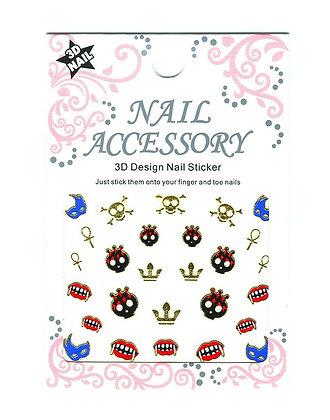 3D Foil Nail Art Stickers - Skulls & Teeth