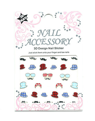 3D Foil Nail Art Stickers - Silver Hats & Tashes