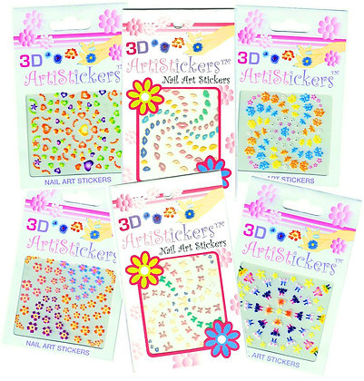 6-Pack 3D Arti Nail Art Stickers