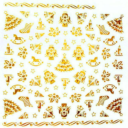 Gold Foil Christmas Nail Art Stickers.02