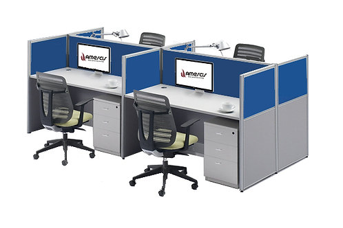 4 Seater System Panel Workstation