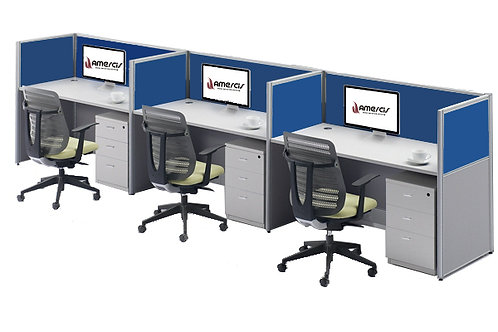 3 Seater System Panel Workstation