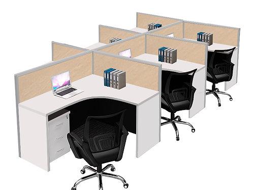 6 Pax F-Shaped Stamford Workstation