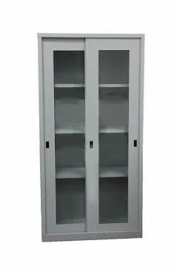 Full Height Sliding Door Steel + Glass Cabinet