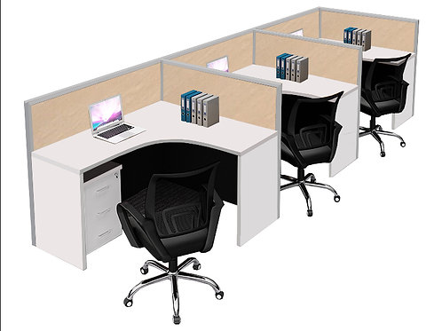 3 Pax F-Shaped Stamford Workstation