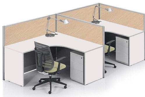 2 Pax F-Shaped Stamford Workstation