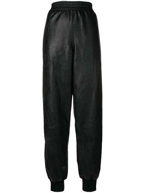 Black Faux-Leather Jogger Pant With Zip up the Side