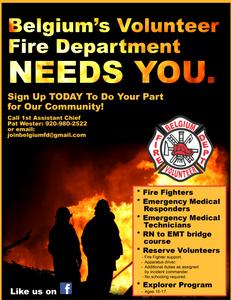 Belgium Fire Department Recruitment Poster