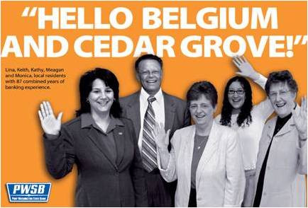 PWSB Belgium and Cedar Grove, Wisconsin ad from 1980s