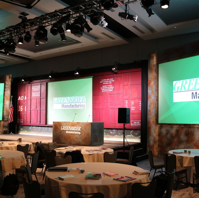 Greenbrier Manufacturing GMO 2019, Live! by Loew's at the Texas Live! Complex at Globe Life Park in Arlington, TX, Stage decks & Unites, Train car backdrop, Left & Right screens, News Desk, Lighting Rig