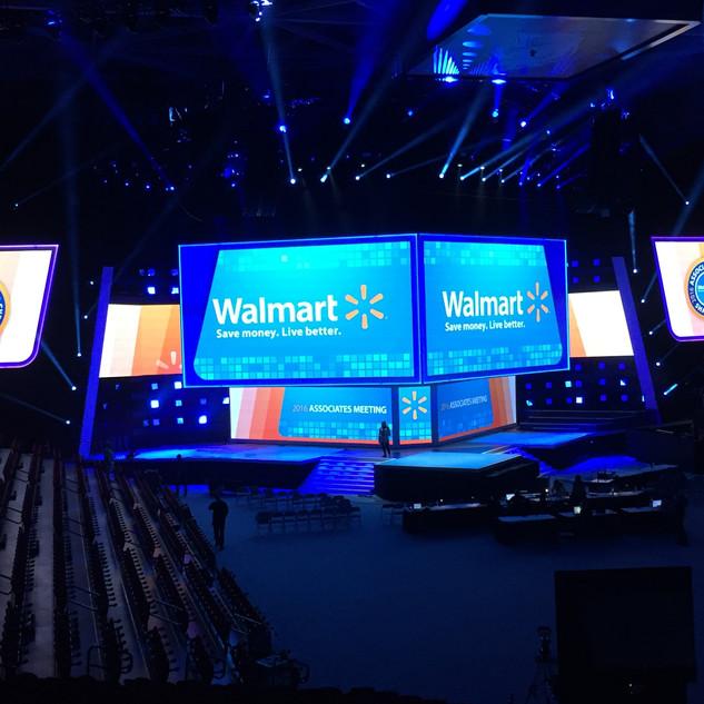 Walmart  Bud Walton Arena, University of Arkansas, Fayetteville, AR  Scenic: Deck; Sub-deck, Band Riser, Turntable Screens Production: SL Monitor World, Jib Deck, Tech Deck, ASL Deck