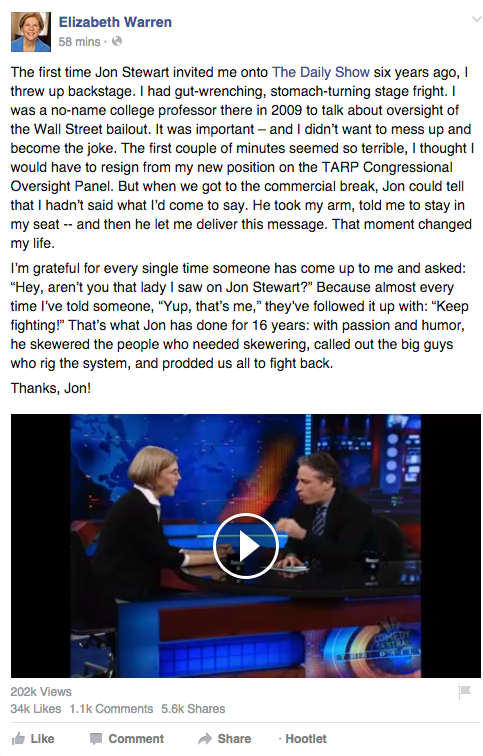 Liz Warren Nails It: Facebook Post of the Week