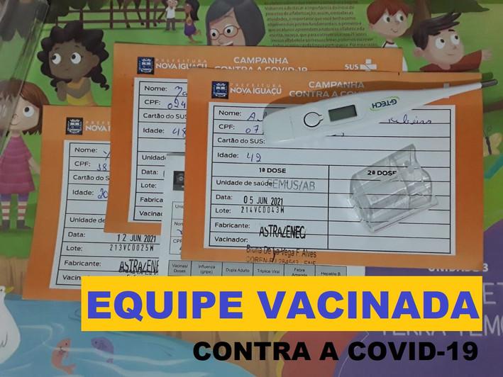 Equipe vacinada contra a COVID-19